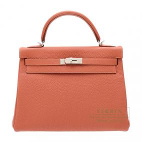 Hermes Kelly bag 32 retourne Rosy/Orange pink Togo leather Silver hardware