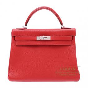 Hermes Kelly bag 32 retourne Rouge casaque/Bright red Clemence leather Silver hardware