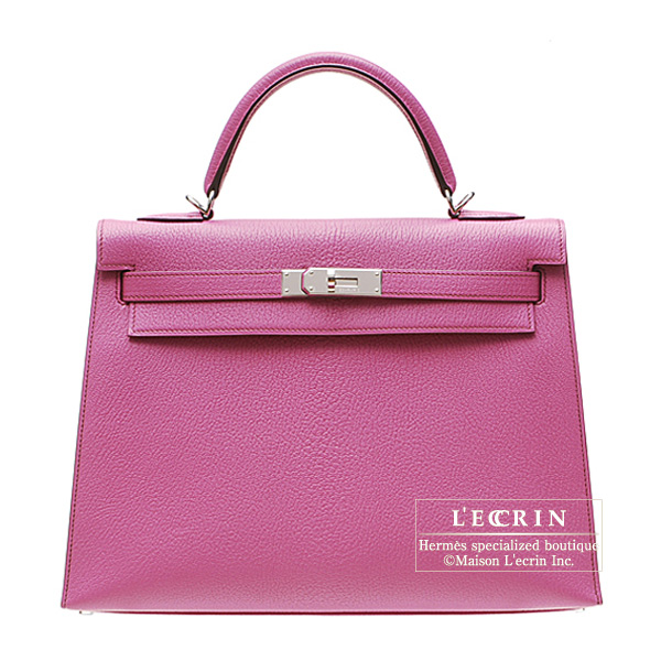 Hermes Kelly bag 32 sellier Fuschia pink Chevre goatskin Silver hardware