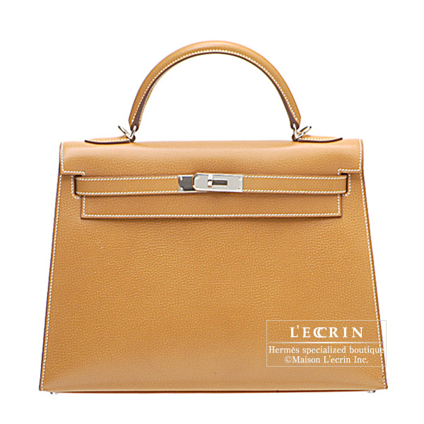 Hermes Kelly bag 32 sellier Gold Vache liegee leather Silver hardware