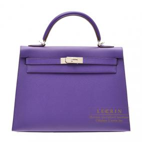 Hermes Kelly bag 32 sellier Crocus/Crocus purple Epsom leather Silver hardware