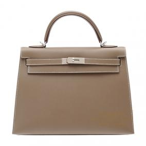 Hermes Kelly bag 32 sellier Etoupe/Taupe grey Epsom leather Silver hardware