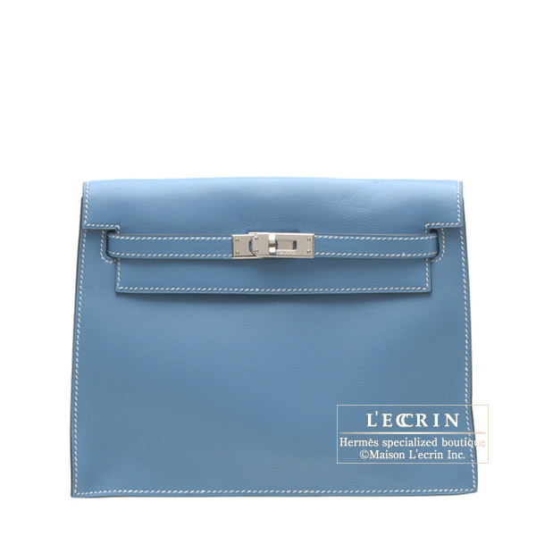 Hermes Kelly dance clutch bag Blue jean Swift leather Silver hardware