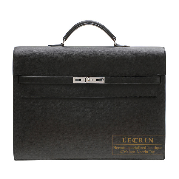 Hermes Kelly depeche 34 briefcase Black Epsom leather Silver hardware