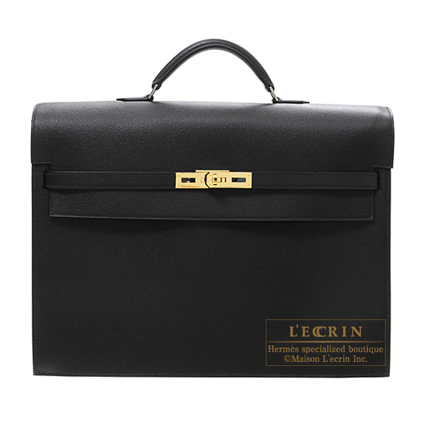 Hermes Kelly depeche 38 briefcase Black Epsom leather Gold hardware