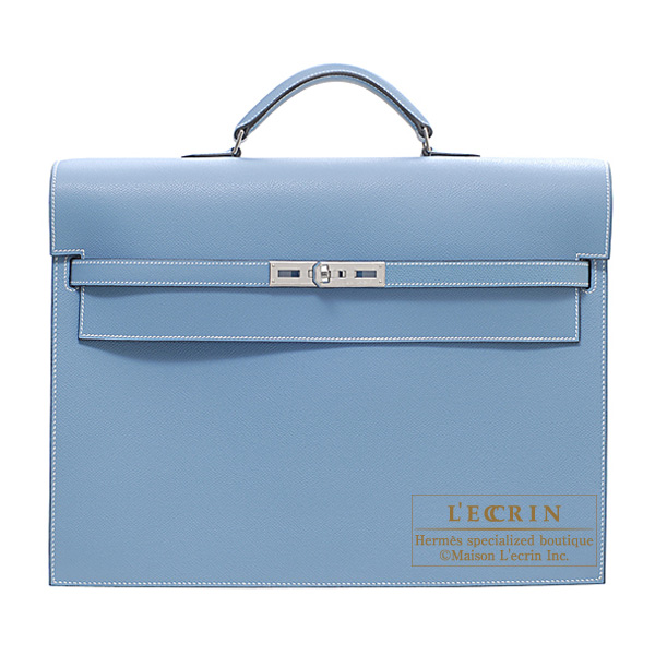 7bcb98d6ec74 Hermes Kelly depeche 38 briefcase Blue jean Epsom leather Silver hardware