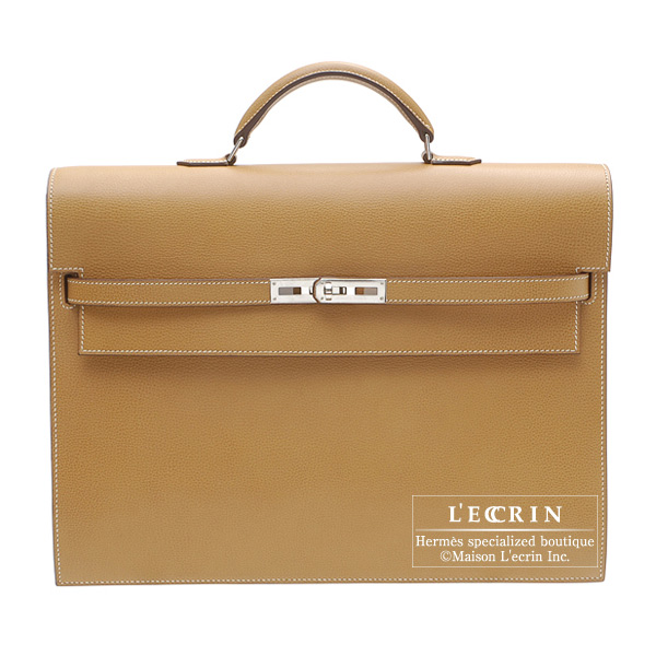 Hermes Kelly depeche 38 briefcase Gold Vache liegee leather Silver hardware