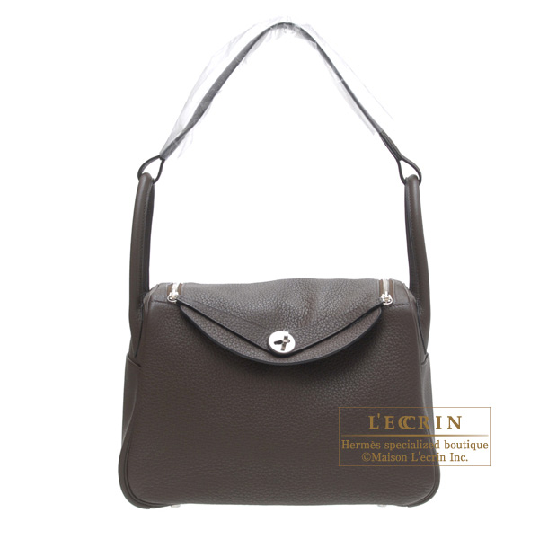 Hermes Lindy bag 30 Cafe/Coffee Clemence leather Silver hardware