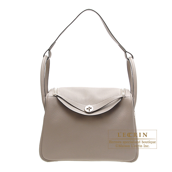 Hermes Lindy bag 30 Gris tourterelle/Mouse grey Clemence leather Silver hardware