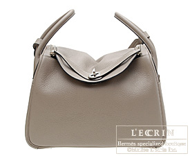 Hermes Lindy bag 30 Gris tourterelle/Mouse grey Clemence leather ...