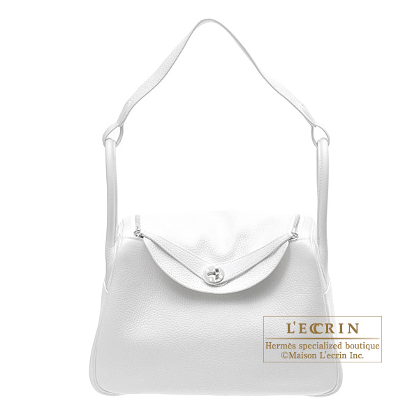 Hermes Lindy bag 30 White Clemence leather Silver hardware
