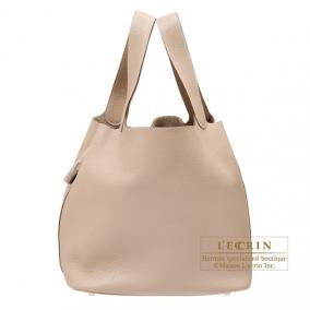 Hermes Picotin Lock bag GM Argile beige Clemence leather Silver hardware