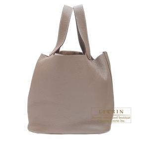 Hermes Picotin Lock bag GM Etoupe/Taupe grey Clemence leather Silver hardware