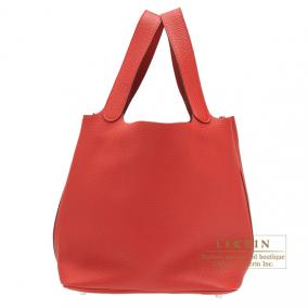 Hermes Picotin Lock bag GM Rouge casaque/Bright red Clemence leather Silver hardware