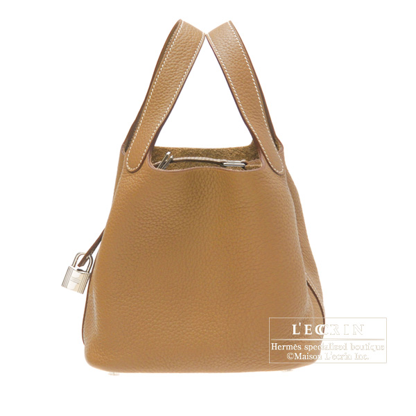 Hermes Picotin Lock bag MM Gold Clemence leather Silver hardware