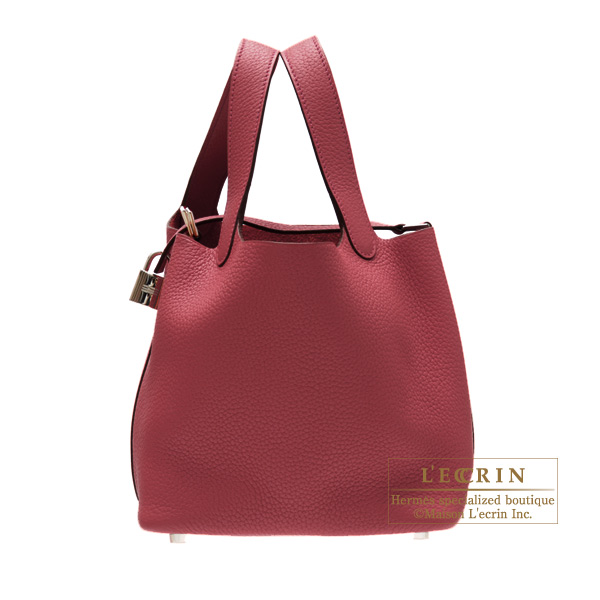 Hermes Picotin Lock bag MM Ruby/Dark red Clemence leather Silver hardware
