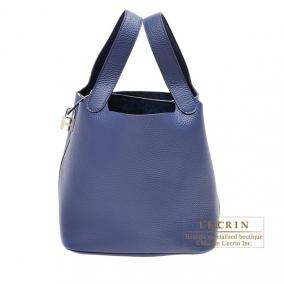 Hermes Picotin Lock bag MM Bleu Saphir Clemence leather Silver hardware