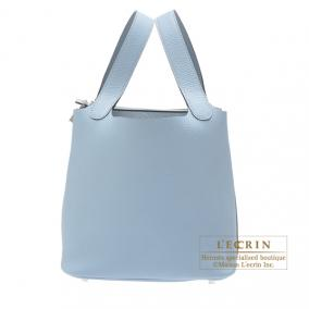 Hermes Picotin Lock bag MM Bleu lin/Linen blue Clemence leather Silver hardware