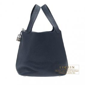 Hermes Picotin Lock bag MM Bleu obscur/Obscure blue Clemence leather Silver hardware