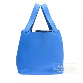 Hermes Picotin Lock bag MM Blue hydra Clemence leather Silver hardware