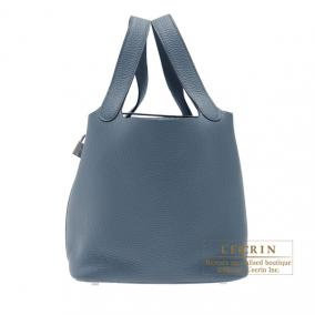 Hermes Picotin Lock bag MM Blue orage/Dark blue Clemence leather Silver hardware