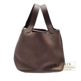 Hermes Picotin Lock bag MM Cacao/Cacao brown Clemence leather Silver hardware