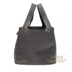 Hermes Picotin Lock bag MM Etain/Etain grey Clemence leather Silver hardware