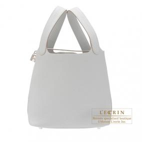 Hermes Picotin Lock bag MM Gris Perle Clemence leather Silver hardware