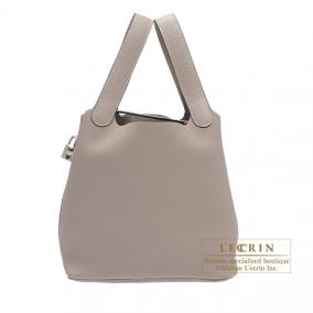 Hermes Picotin Lock bag MM Gris tourterelle/Mouse grey Clemence leather Silver hardware