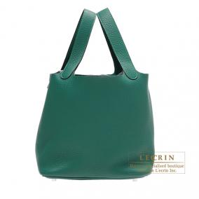 Hermes Picotin Lock bag MM Malachite/Malachite green Clemence leather Silver hardware