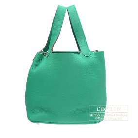 Hermes Picotin Lock bag MM Menthe/Mint green Clemence leather Silver hardware