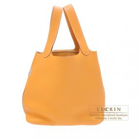 Hermes Picotin Lock bag MM Moutarde/Mustard yellow Clemence leather Silver hardware