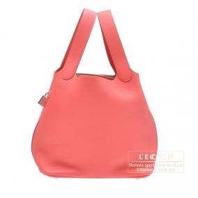 Hermes Picotin Lock bag MM Rose jaipur/Hot pink Clemence leather Silver hardware