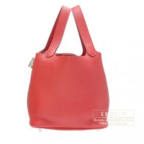 Hermes Picotin Lock bag MM Rouge casaque/Bright red Clemence leather Silver hardware