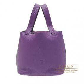 Hermes Picotin Lock bag MM Ultraviolet Clemence leather Silver hardware
