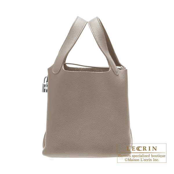 Hermes Picotin Lock bag PM Gris tourterelle/Mouse grey Clemence leather Silver hardware