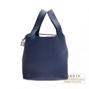 Hermes Picotin Lock bag PM Abysse blue Clemence leather Silver hardware