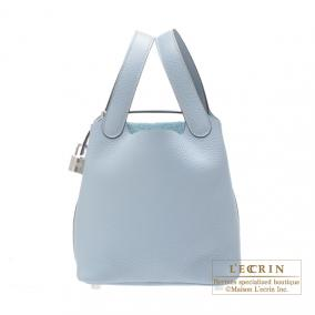 Hermes Picotin Lock bag PM Bleu lin/Linen blue Clemence leather Silver hardware