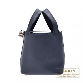 Hermes Picotin Lock bag PM Bleu obscur/Obscure blue Clemence leather Silver hardware