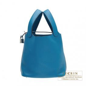 Hermes Picotin Lock bag PM Blue izmir Clemence leather Silver hardware