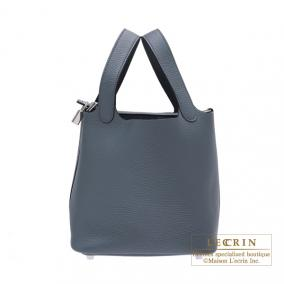 Hermes Picotin Lock bag PM Blue orage/Dark blue Clemence leather Silver hardware