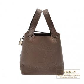 Hermes Picotin Lock bag PM Cacao/Cacao brown Clemence leather Silver hardware