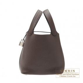 Hermes Picotin Lock bag PM Cafe/Coffee Clemence leather Silver hardware