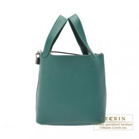 Hermes Picotin Lock bag PM Malachite/Malachite green Clemence leather Silver hardware