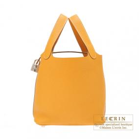 Hermes Picotin Lock bag PM Moutarde/Mustard yellow Clemence leather Silver hardware