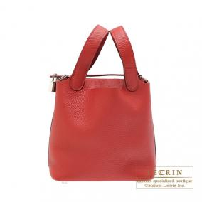 Hermes Picotin Lock bag PM Rouge casaque/Bright red Clemence leather Silver hardware