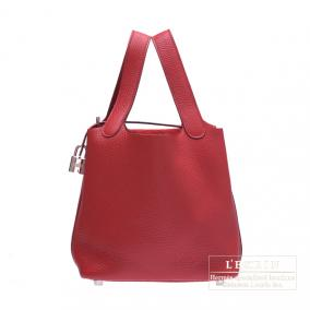 Hermes Picotin Lock bag PM Ruby/Dark red Clemence leather Silver hardware