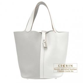 Hermes Picotin Lock casaque bag GM Bi-color Pearl grey/White Clemence leather Silver hardware