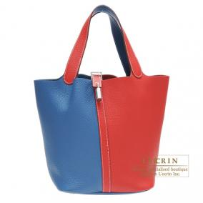Hermes Picotin Lock casaque bag GM Bi-color Rouge casaque/Blue thalassa Clemence leather Silver hard
