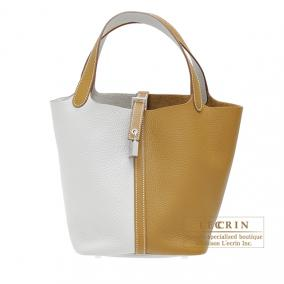 Hermes Picotin Lock casaque bag MM Bi-color Pearl grey/Kraft beige Clemence leather Silver hardware